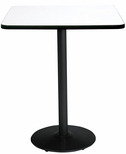 30'' Square Laminate Bistro Height Pedestal Table with Crisp Linen Top - Black Round Base [T30SQ-B1917-BK-CL-38-IFK]