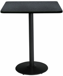30'' Square Laminate Bistro Height Pedestal Table with Graphite Nebula - Black Round Base [T30SQ-B1917-BK-GRN-38-IFK]