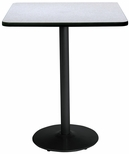 30'' Square Laminate Bistro Height Pedestal Table with Grey Nebula Top - Black Round Base [T30SQ-B1917-BK-GYN-38-IFK]