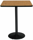 30'' Square Laminate Bistro Height Pedestal Table with Medium Oak Top - Black Round Base [T30SQ-B1917-BK-MO-38-IFK]