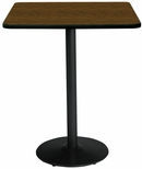30'' Square Laminate Bistro Height Pedestal Table with Walnut Top - Black Round Base [T30SQ-B1917-BK-WL-38-IFK]