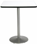 30'' Square Laminate Bistro Height Pedestal Table with Crisp Linen Top - Silver Round Base [T30SQ-B1917-SL-CL-38-IFK]