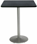 30'' Square Laminate Bistro Height Pedestal Table with Graphite Nebula Top - Silver Round Base [T30SQ-B1917-SL-GRN-38-IFK]