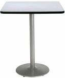 30'' Square Laminate Bistro Height Pedestal Table with Grey Nebula Top - Silver Round Base [T30SQ-B1917-SL-GYN-38-IFK]