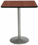 30'' Square Laminate Bistro Height Pedestal Table with Mahogany Top - Silver Round Base [T30SQ-B1917-SL-MH-38-IFK]