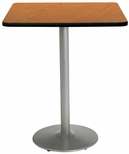 30'' Square Laminate Bistro Height Pedestal Table with Medium Oak Top - Silver Round Base [T30SQ-B1917-SL-MO-38-IFK]