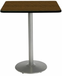 30'' Square Laminate Bistro Height Pedestal Table with Walnut Top - Silver Round Base [T30SQ-B1917-SL-WL-38-IFK]