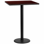 30'' Square Mahogany Laminate Table Top with 18'' Round Bar Height Base [BFDH-3030MAHSQ-6BAR-TDR]