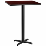 30'' Square Mahogany Laminate Table Top with 22'' x 22'' Bar Height Base [BFDH-3030MAHSQ-2BAR-TDR]