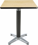 30'' Square Cafe Table with Metal Mesh Base - Oak [CMT30SQ-OAK-FS-MFO]