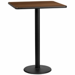 30'' Square Walnut Laminate Table Top with 18'' Round Bar Height Base [BFDH-3030WALSQ-6BAR-TDR]