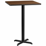 30'' Square Walnut Laminate Table Top with 22'' x 22'' Bar Height Base [BFDH-3030WALSQ-2BAR-TDR]