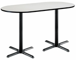 30''W x 72''D RaceTrack Laminate Bistro Height Pedestal Table with Crisp Linen Top - Black X-Base [T3072R-B2015-BK-CL-38-IFK]