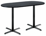 30''W x 72''D RaceTrack Laminate Bistro Height Pedestal Table with Graphite Nebula Top - Black X-Base [T3072R-B2015-BK-GRN-38-IFK]