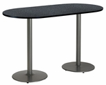 30''W x 72''D RaceTrack Laminate Bistro Height Pedestal Table with Graphite Nebula Top - Silver Round Base [T3072R-B1917-SL-GRN-38-IFK]