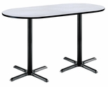 30''W x 72''D RaceTrack Laminate Bistro Height Pedestal Table with Grey Nebula Top - Black X-Base [T3072R-B2015-BK-GYN-38-IFK]