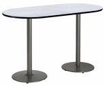 30''W x 72''D RaceTrack Laminate Bistro Height Pedestal Table with Grey Nebula Top - Silver Round Base [T3072R-B1917-SL-GYN-38-IFK]
