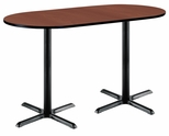 30''W x 72''D RaceTrack Laminate Bistro Height Pedestal Table with Mahogany Top - Black X-Base [T3072R-B2015-BK-MH-38-IFK]