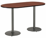 30''W x 72''D RaceTrack Laminate Bistro Height Pedestal Table with Mahogany Top - Silver Round Base [T3072R-B1917-SL-MH-38-IFK]