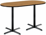 30''W x 72''D RaceTrack Laminate Bistro Height Pedestal Table with Medium Oak Top - Black X-Base [T3072R-B2015-BK-MO-38-IFK]