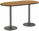 30''W x 72''D RaceTrack Laminate Bistro Height Pedestal Table with Medium Oak Top - Silver Round Base [T3072R-B1917-SL-MO-38-IFK]