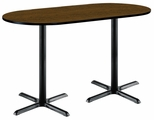 30''W x 72''D RaceTrack Laminate Bistro Height Pedestal Table with Walnut Top - Black X-Base [T3072R-B2015-BK-WL-38-IFK]