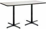 30''W x 72''D Rectangular Laminate Bistro Height Table with Crisp Linen Top - Black X-Base [T3072-B2015-BK-CL-38-IFK]