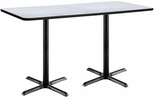 30''W x 72''D Rectangular Laminate Bistro Height Table with Grey Nebula Top - Black X-Base [T3072-B2015-BK-GYN-38-IFK]