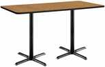 30''W x 72''D Rectangular Laminate Bistro Height Table with Medium Oak Top - Black X-Base [T3072-B2015-BK-MO-38-IFK]