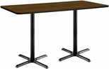 30''W x 72''D Rectangular Laminate Bistro Height Table with Walnut Top - Black X-Base [T3072-B2015-BK-WL-38-IFK]