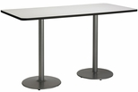 30''W x 72''D Rectangular Laminate Bistro Height Table with Crisp Linen Top - Silver Round Base [T3072-B1917-SL-CL-38-IFK]