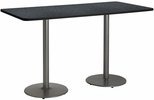 30''W x 72''D Rectangular Laminate Bistro Height Table with Graphite Top - Silver Round Base [T3072-B1917-SL-GRN-38-IFK]