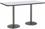 30''W x 72''D Rectangular Laminate Bistro Height Table with Grey Nebula Top - Silver Round Base [T3072-B1917-SL-GYN-38-IFK]