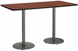 30''W x 72''D Rectangular Laminate Bistro Height Table with Mahogany Top - Silver Round Base [T3072-B1917-SL-MH-38-IFK]