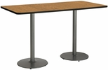 30''W x 72''D Rectangular Laminate Bistro Height Table with Medium Oak Top - Silver Round Base [T3072-B1917-SL-MO-38-IFK]