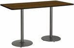 30''W x 72''D Rectangular Laminate Bistro Height Table with Walnut Top - Silver Round Base [T3072-B1917-SL-WL-38-IFK]