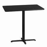 30'' x 42'' Rectangular Black Laminate Table Top with 22'' x 30'' Bar Height Base [BFDH-3042BKREC-3BAR-TDR]