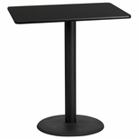 30'' x 42'' Rectangular Black Laminate Table Top with 24'' Round Bar Height Base [BFDH-3042BKREC-7BAR-TDR]