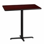 30'' x 42'' Rectangular Mahogany Laminate Table Top with 22'' x 30'' Bar Height Base [BFDH-3042MAHREC-3BAR-TDR]