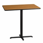 30'' x 42'' Rectangular Natural Laminate Table Top with 22'' x 30'' Bar Height Base [BFDH-3042NATREC-3BAR-TDR]