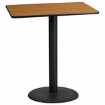30'' x 42'' Rectangular Natural Laminate Table Top with 24'' Round Bar Height Base [BFDH-3042NATREC-7BAR-TDR]