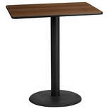 30'' x 42'' Rectangular Walnut Laminate Table Top with 24'' Round Bar Height Base [BFDH-3042WALREC-7BAR-TDR]