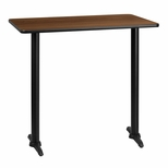 30'' x 42'' Rectangular Walnut Laminate Table Top with 5'' x 22'' Bar Height Bases [BFDH-3042WALREC-1BAR-TDR]