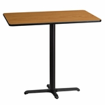 30'' x 45'' Rectangular Natural Laminate Table Top with 22'' x 30'' Bar Height Base [BFDH-3045NATREC-3BAR-TDR]
