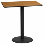 30'' x 45'' Rectangular Natural Laminate Table Top with 24'' Round Bar Height Base [BFDH-3045NATREC-7BAR-TDR]