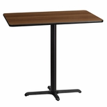 30'' x 45'' Rectangular Walnut Laminate Table Top with 22'' x 30'' Bar Height Base [BFDH-3045WALREC-3BAR-TDR]