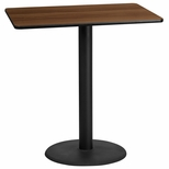 30'' x 45'' Rectangular Walnut Laminate Table Top with 24'' Round Bar Height Base [BFDH-3045WALREC-7BAR-TDR]