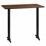 30'' x 45'' Rectangular Walnut Laminate Table Top with 5'' x 22'' Bar Height Bases [BFDH-3045WALREC-1BAR-TDR]