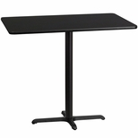 30'' x 48'' Rectangular Black Laminate Table Top with 22'' x 30'' Bar Height Base [BFDH-3048BKREC-3BAR-TDR]