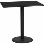 30'' x 48'' Rectangular Black Laminate Table Top with 24'' Round Bar Height Base [BFDH-3048BKREC-7BAR-TDR]